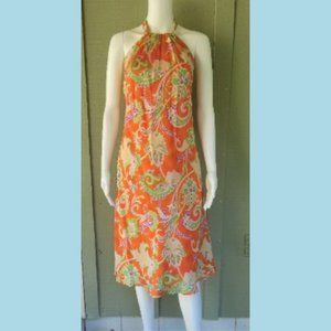 NWT RALPH LAUREN Orange Floral Silk Halter Dress 8